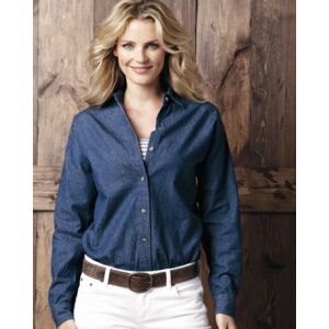 Women's Long Sleeve Denim Shirt Thumbnail