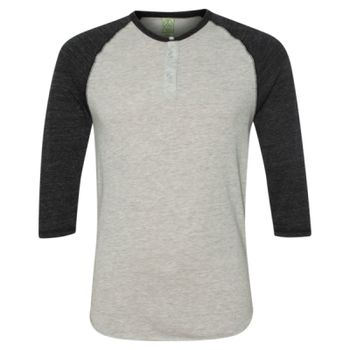 Eco-Jersey™ Three-Quarter Sleeve Raglan Henley Thumbnail