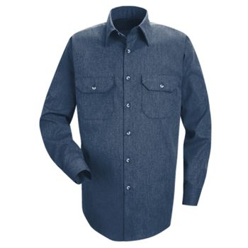 Heathered Poplin Long Sleeve Shirt Thumbnail