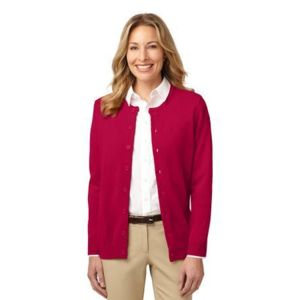 Ladies Value Jewel Neck Cardigan Sweater Thumbnail