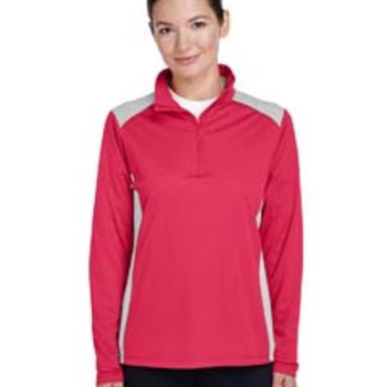 Ladies' Excel Mélange Interlock Performance Quarter-Zip Top Thumbnail