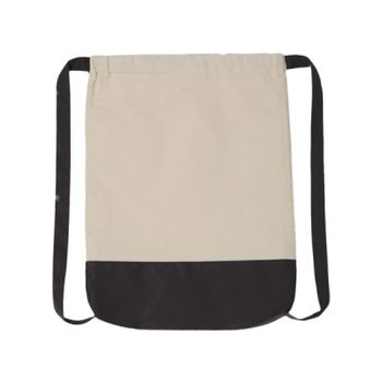 10 Ounce Cotton Canvas Contrast Bottom Drawstring Backpack Thumbnail