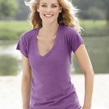 Ladies' V-Neck Slub T-Shirt Thumbnail