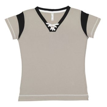 Ladies' Lace Up Fine Jersey Tee Thumbnail