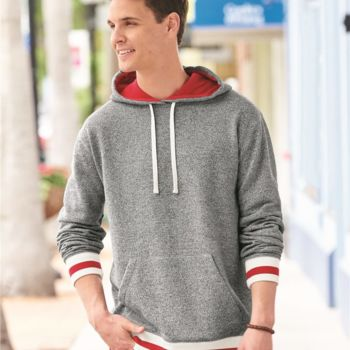 Peppered Fleece Lapover Hooded Pullover Thumbnail